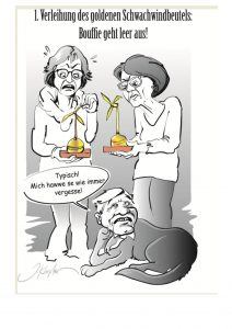 Goldener Schwachwindbeutel an RP Brigitte Lindscheid und Dr. Marie-Luise Wolff