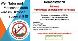 Demo 22. September, Windräder, falsche Energiepolitik, Landschaftszerstörung, Naturzerstörung, Lärm, Infraschall