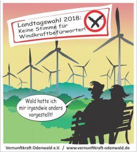 windkraftfreier Odenwald, keine Stimme für Windkraftbefürworter, Landtagswahl 2018