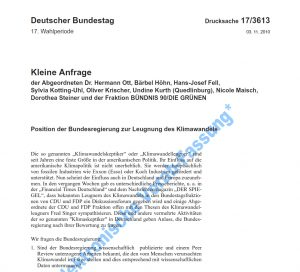 """Grüne gegen """"Klimaleugner"""", Kleine Anfrage im Bundestag"""