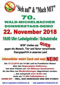 70. Donnerstagsdemo für einen windkraftfreien Odenwald