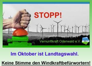 Keine Stimme für Windkraft, STOPP, Landtagswahl Oktober 2018